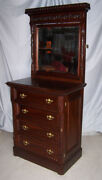 American Victorian Mahogany Lockside High Boy Dresser Chest Of Drawers Andndash Only 34