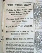19th Century Lightweight Bare-knuckle Boxing Championship Fight 1868 Newspaper