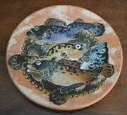 Circ 1995 Ooak Moscow Russian Art Pottery Large Round Platter Charger Fish Motif