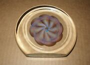 Mind Bending Opalescent Signed Glass Paperweight Sculpture Colors Change 5.25 In
