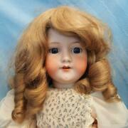 Armand Marseille Bisque Doll Blue Sleeping Eyes Blonde Mohair Wig Jointed Body