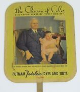 Vintage 1940 Putnam Fadeless Dyes And Tints Advertising Hand Fan