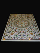 60 X 36 White Dining Table Top Semi Precious Stones Marquetry Handmade Work