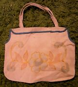 Edwardian 1910and039s Embroidered Linen Totebag