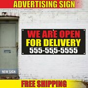 Open For Delivery Banner Advertising Vinyl Sign Flag Fast Shipping We Are Custom