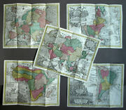 Cards Of Country Continent French Italian Geographical Original Antique Seutter