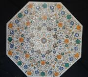 48 White Marble Dining Table Top Inlaid Semi Precious Stones Home Garden