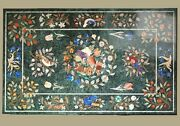 48 X 30 Green Marble Sofa / Dining Table Top Pietra Dura Inlaid Work