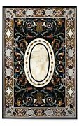 48 X 30 Marble Center Pietra Dura Stones Handmade Floral Inlay Work Table Top