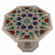 24 Marble Coffee Table Floral Inlay Semi Precious Stones With Marble Stand