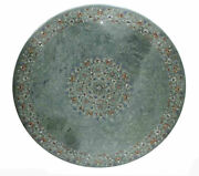 48 Round Green Marble Dining / Center Table Top Pietra Dura Inlaid Art Work