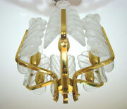 Carl Fagerlund For Orrefors Crystal Leaves Chandelier Murano Glass Lamp 1960s