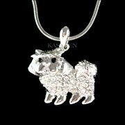 Maltese Yorkshire Terrier Shih Tzu Maltipoo Made With Crystal Necklace