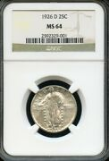 Us 1926-d Standing Liberty Quarter, Nearly Full Head, Ngc Graded Ms-64