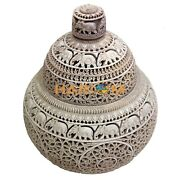 14 Marble Jar And Candle Holder Lattice Floral Handicraft Art Gift E455