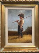 Jim Daly Original Oil 16 X 12 Gone Fishing 1992 Great Cond Nice Frame