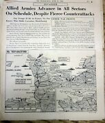 1944 Ww Ii Display Newspaper Allied Invasion Of Normandy W D-day Maps And Photos