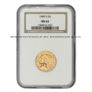1909-d 5 Indian Head Gold Half Eagle Ngc Ms63 Choice Graded Denver Minted Coin