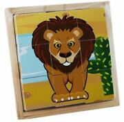 Jungle Animals Wooden Cube Puzzle In A Wooden Tray Wooden Box Ages 10+ Months