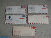 Lot Of 5 Vintage 1948 To 1959 Airline First Commercial Flight Air Mail Envelopes