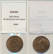 Australia 1911 George V Penny Red And Brown Unc.