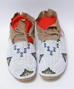 Full Beaded Cheyenne Indian Hide Moccasins C. 1890 11.25 Long