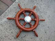 Vintage Mercury Ride Guide Boat Ship Captainand039s Steering Wheel Wooden 1950and039s