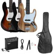 New 3 Colors Glarry 4 Strings Beginner Electric Bass Guitar With Amp