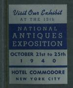 1940 National Antiques Exposition Nyc Reklamemarke Poster Stamp