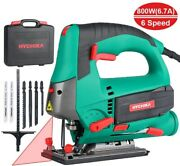 Hychika 800 Electronic Jigsaw 6 Variable Speed Wood Metal Saw Cutting Tool 10 Ft