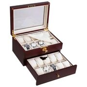 20 Slot Watch Display Case Walnut Wooden Glass Top Jewelry Coin Collector Box