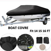 14 16ft Boat Cover Waterproof Trailerable Fishing Ski Bass V-hull Runabouts 90
