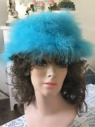 Vintage Happy Capper 1960s Turquoise Feather Marabou Party Cocktail Hat Usa 21