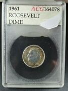 1961 P Roosevelt Silver Dime Coin Pq Rainbow Wow Toning Gem Proof Accugrade