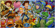 Disney Fine Art Limited Edition Canvas Cast Of Toys-toy Story-tim Rogerson