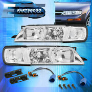For 95-99 Nissan Maxima Headlights Lamps Assembly Left + Right Pair Chrome Clear