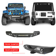Front Rear Bumper Combo W/led Lights Bar And D-rings Fit Jeep Wrangler Jk 07-18