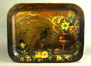 Antique 1700and039s Fine Georgian Hand Painted Lacquered Wood Tray Platter Peacock
