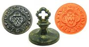13th - 14th Century Exceptional Medieval Bronze Armorial Seal Of Peter Of Paris