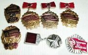 Lot Set Of Pin Badge Soviet Russian Russia Ussr Vintage 1970s  5083