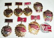 Lot Set Of Pin Badge Soviet Russian Russia Ussr Vintage 1970s  5087