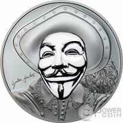 Historic Guy Fawkes Mask Ii Anonymous 1 Oz Silver Coin 5 Cook Islands 2017