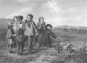 Farm Kids Play And Catch Birds W Traps In Hay Field Old 1866 Art Print Engraving