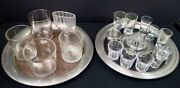 Large Lot Vintage And Antique Fancy Bar Glasses And Pewter Trays