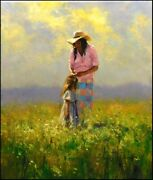 Robert Hagan Nature Beauty Original Oil Mother And Child Canvas Hand Signed
