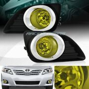 Chrome Housing Yellow Lens Fog Driving Lights+switch+bulb Fit 10-11 Toyota Camry