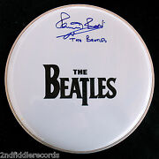The Beatles-pete Best-a Beautiful Autographed 12 Drumhead-with Jsa Coa Letter