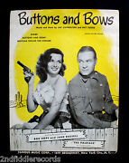 Jane Russell-rare Autographed Buttons And Bows Sheet Music-sexy-jsa Coa L 47395