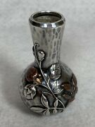 Whiting Sterling Aesthetic Mixed Metals Copper Hammered Vase Sales Sample Rare