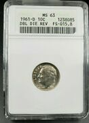 1961 D Roosevelt Silver Dime Variety Anacs Ms63 Ddr Fs-015.8 Fs-801 Double Die